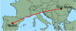 Map of route from Madrid to Tirgu Mures