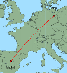 Map of route from Berlin(Tegel) to Madrid