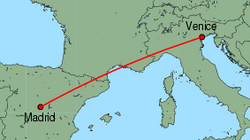 Map of route from Madrid to Venice(MarcoPolo)