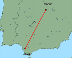 Map of route from Jerez to Madrid