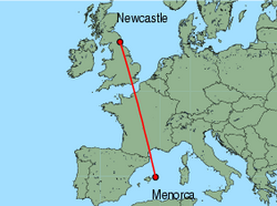 Map of route from Newcastle to Mahon