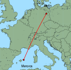 Map of route from Mahon to Berlin (Tegel)