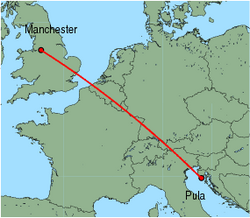 Map of route from Pula to Manchester