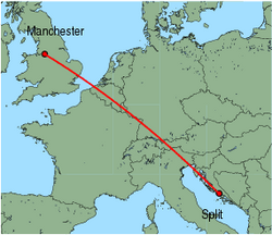 Map of route from Split to Manchester