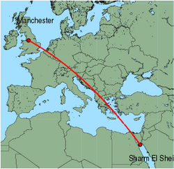 Map of route from Manchester to Sharm El Sheikh