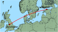 Map of route from Manchester to Tallinn