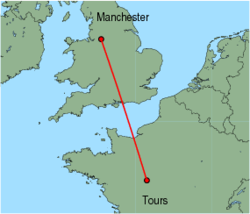Map of route from Manchester to Tours