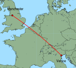 Map of route from Manchester to Venice (Marco Polo)