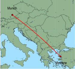 Map of route from Munich to Mytilene