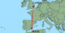 Map of route from Murcia to London (Stansted)