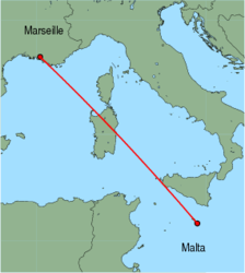 Map of route from Malta to Marseille