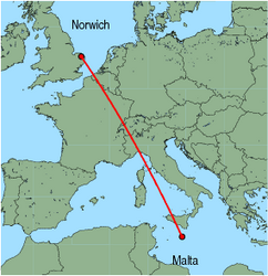 Map of route from Norwich to Malta