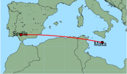 Map of route from Malta to Seville