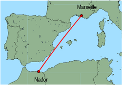 Map of route from Nador to Marseille