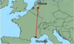 Map of route from Marseille to Weeze