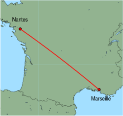 Map of route from Marseille to Nantes
