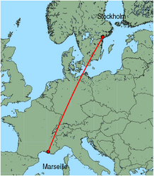 Map of route from Stockholm (Skavsta) to Marseille
