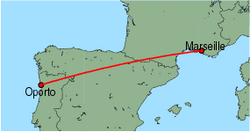 Map of route from Oporto to Marseille