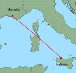 Map of route from Palermo to Marseille