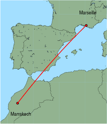 Map of route from Marrakech to Marseille