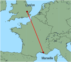 Map of route from London (Stansted) to Marseille