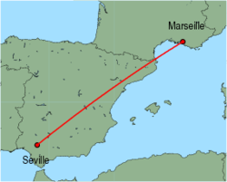 Map of route from Seville to Marseille
