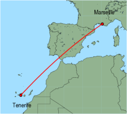 Map of route from Tenerife (Sur) to Marseille