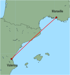 Map of route from Valencia to Marseille