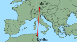 Map of route from Enfidha to Munich