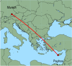 Map of route from Paphos to Munich