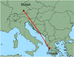 Map of route from Munich to Preveza