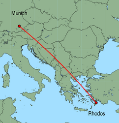Map of route from Munich to Rhodos