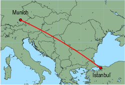 Map of route from Munich to Istanbul (Sabiha)