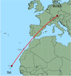 Map of route from Munich to Sal