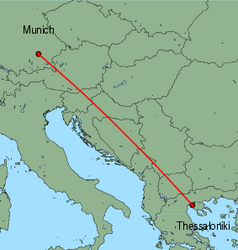 Map of route from Munich to Thessaloniki