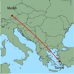 Map of route from Munich to Samos