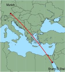Map of route from Munich to Sharm El Sheikh