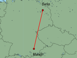 Map of route from Munich to Berlin(Tegel)
