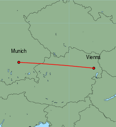 Map of route from Vienna to Munich