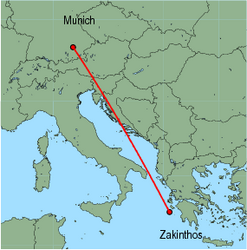 Map of route from Zakinthos to Munich