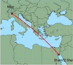 Map of route from Milan (Malpensa) to Sharm El Sheikh