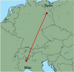 Map of route from Milan(Malpensa) to Berlin(Tegel)