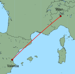 Map of route from Milan&nbsp;(Malpensa) to Valencia