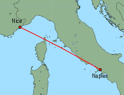 Map of route from Nice to Naples