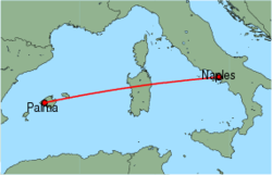 Map of route from Palma to Naples
