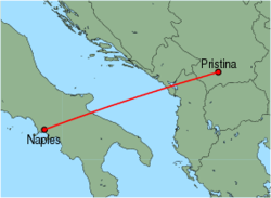 Map of route from Pristina to Naples