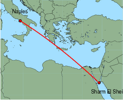 Map of route from Naples to Sharm El Sheikh