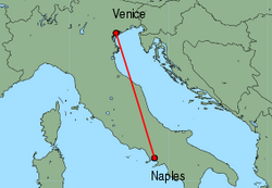 Map of route from Naples to Venice (Marco Polo)