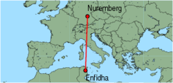 Map of route from Nuremberg to Enfidha