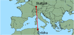 Map of route from Stuttgart to Enfidha